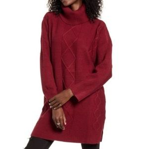 MINKPINK Lesley Cable Tunic Sweater Wine Color L